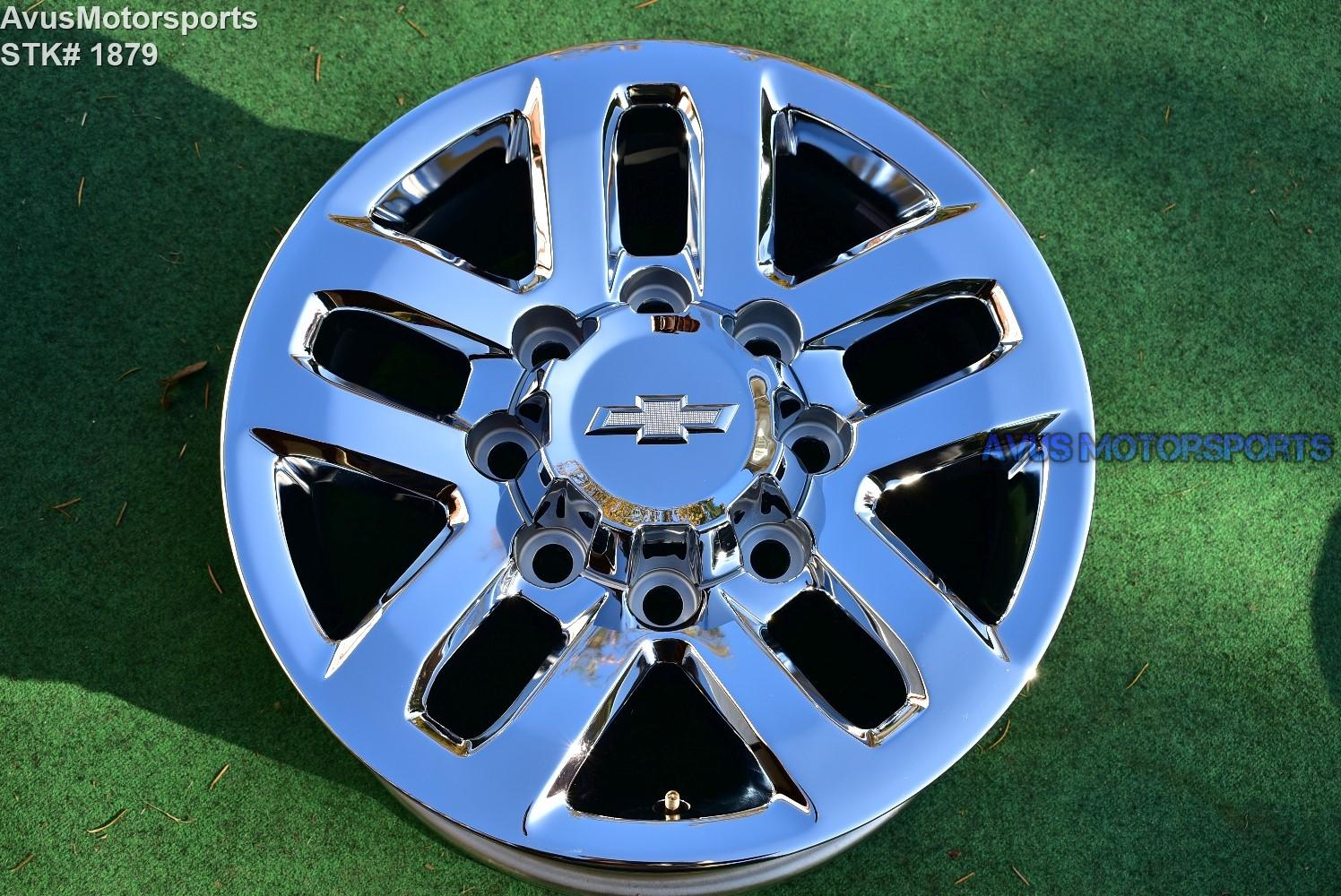 "18"" Chevy Silverado GMC Sierra 2500 3500 OEM WHEELS chrome 2017 2018 LTZ"