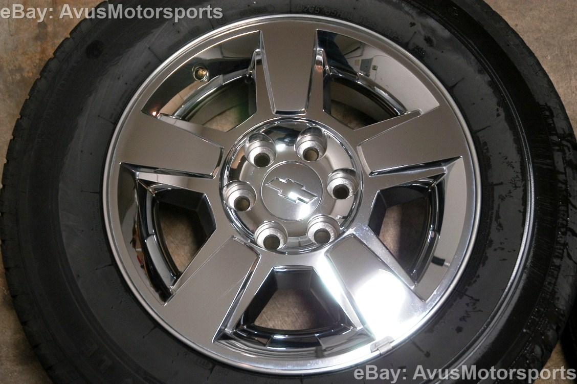 chevy silverado gmc yukon 18 oem chrome wheels tire 1500 tahoe sierra suburban ebay. Black Bedroom Furniture Sets. Home Design Ideas