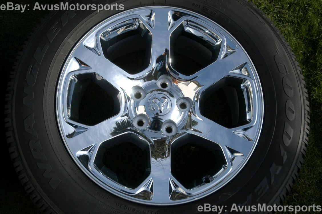 "2014 Dodge RAM Factory 20"" Chrome Clad Wheels Tires Hemi 1500 Dakota Aspen"