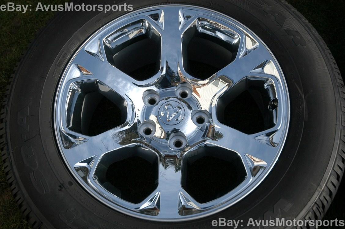 """2014 Dodge RAM Factory 20"""" Chrome Clad Wheels Tires Hemi 1500 Dakota Aspen"""
